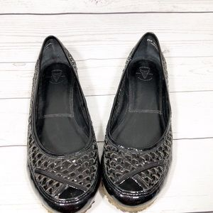 Frye Patent Leather Peep Toe Ballet Flats 8.5B
